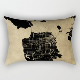 San Francisco California Black and Gold Map Rectangular Pillow
