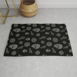 Game Night - repeating pattern nerdy d20 skull pizza Rug