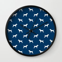 Jack Russell Terrier navy and white minimal dog pattern dog silhouette pattern Wall Clock