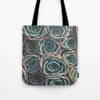 succulents Tote Bags featuring SUCCULENTS by The Pixel Gypsy