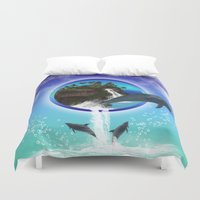 dolphin Duvet Covers featuring Dolphin by nicky2342