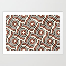 Circle Swirl Pattern Ever Classic Gray 32-24 Red River 4-21 and Dover White 33-6 Art Print