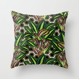 Palm on Polygon Pattern - White Black Gold Throw Pillow