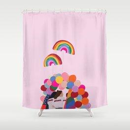 Rainbow Pride Balloons Love Shower Curtain
