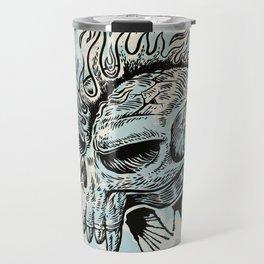 skull hand draw with flame Travel Mug