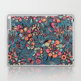 Sweet Spring Floral - melon pink, butterscotch & teal Laptop & iPad Skin