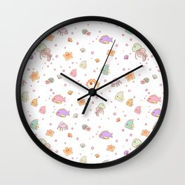 Cute sea creatures pattern Wall Clock