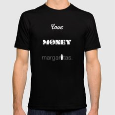 Love, Money, Margaritas. | Typography Black Mens Fitted Tee SMALL