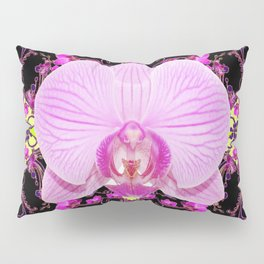 Purple Orchids Pattern Fantasy Yellow Black Art Pattern Pillow Sham