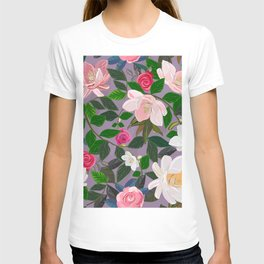 Magnolia and Roses Artistic Flowers Pattern T-shirt