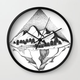 Beyond the mountains Wall Clock