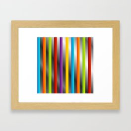Colorful and shiny stripes on metal Framed Art Print