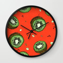 Summer Time Red Kiwi Pattern with Texture Wall Clock
