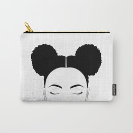 Afro-Puffs artwork, modern black and white designed by Gail Good Carry-All Pouch