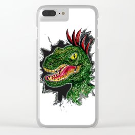 Watercolor velociraptor portrait Clear iPhone Case