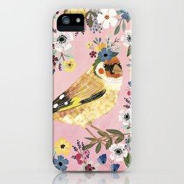 Goldfinch bird with floral crown iPhone Case
