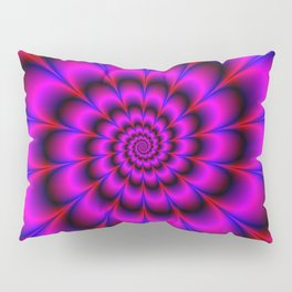 Spiral Rosette in Pink Blue and Red Pillow Sham