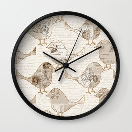 old letter pattern vintage birds art Wall Clock