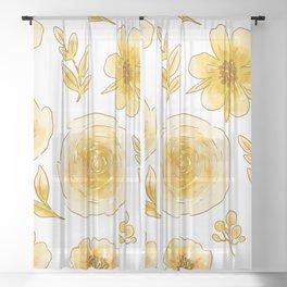 Yellow roses Sheer Curtain