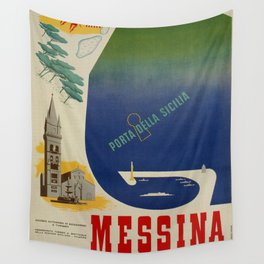 Messina port of Sicily Wall Tapestry