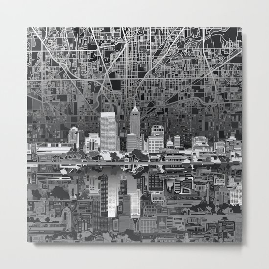indianapolis city skyline black and white Metal Print