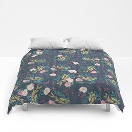 Dark Floral 2 Comforters