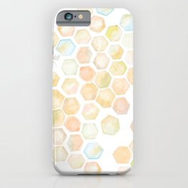 Bee and honeycomb watercolor iPhone Case