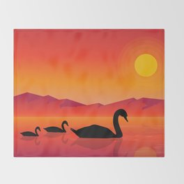 Silhouettes of Swans at Sunset Throw Blanket
