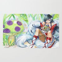 league of legends Area & Throw Rugs featuring Ahri hugging Teemo league of legends by meomeo