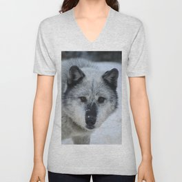 Lone wolf roams the Canadian Rockies Unisex V-Neck