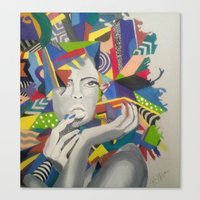 psychadelic Canvas Prints featuring Psychadelic Lady by K. Artistry Studio