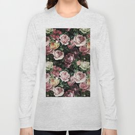 Vintage & Shabby chic - dark retro floral roses pattern Long Sleeve T-shirt