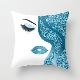 Blue glitte woman Throw Pillow