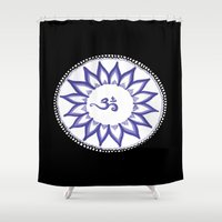 ohm Shower Curtains featuring Ohm Flower by Michelle_