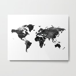 Black and silver world map Metal Print