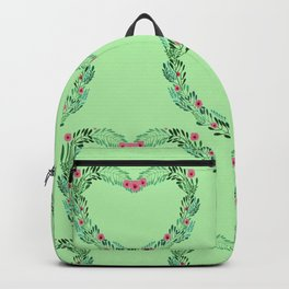Heart Wreath Hand-painted in Green Ferns and Pink Blossoms on Mint Green Backpack
