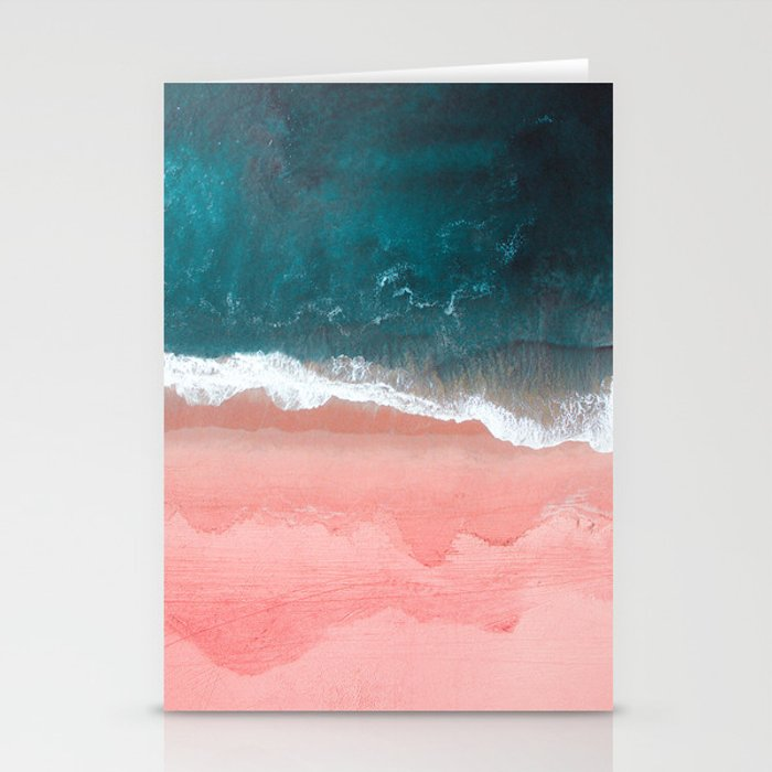 Turquoise Sea Pastel Beach III Stationery Cards