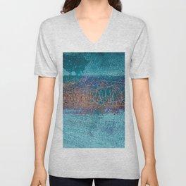 Rust and Cracks Turquoise Unisex V-Neck