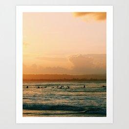 Byron Bay Sunset Surfers Art Print