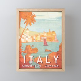 Italy, Cinque Terre Vintage Travel Poster Framed Mini Art Print