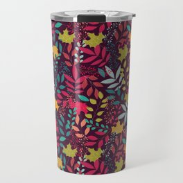 Autumn seamless pattern with floral decorative elements, colorful design Travel Mug
