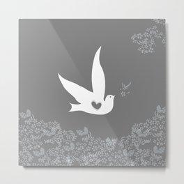 Wings of Love - Silver & Grey Metal Print