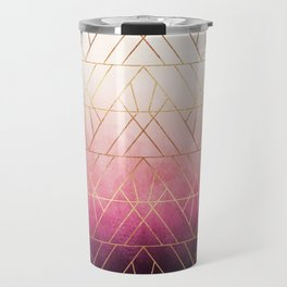 Pink Ombre Triangles Travel Mug