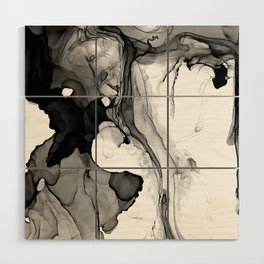 Soft Black Marble Wood Wall Art