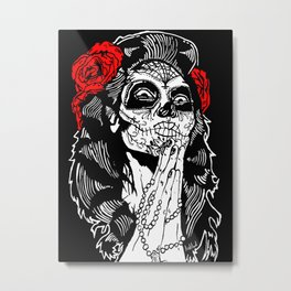 Girl With Sugar Skull, Day of the Dead Metal Print