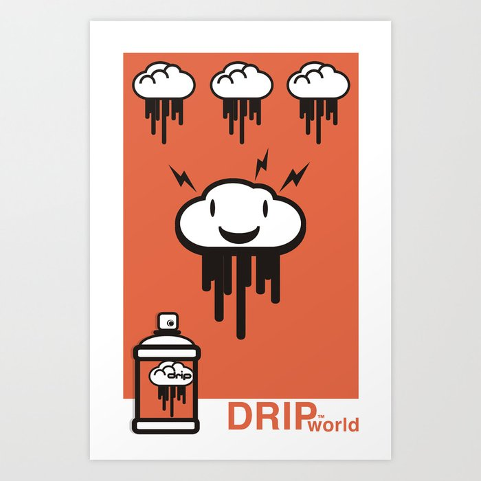Drip World Orange Art Print