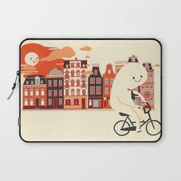 Happy Ghost Biking Through Amsterdam Laptop Sleeve