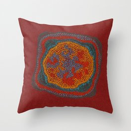 Growing - Lamium - plant cell embroidery Throw Pillow