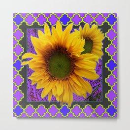 Decorative Purple Patterned Yellow Sunflowers Design Metal Print