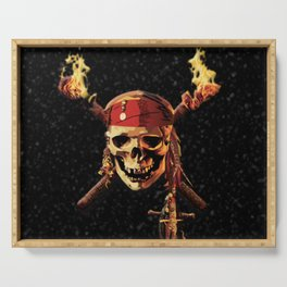 Fire Skull Of Pirates Serving Tray